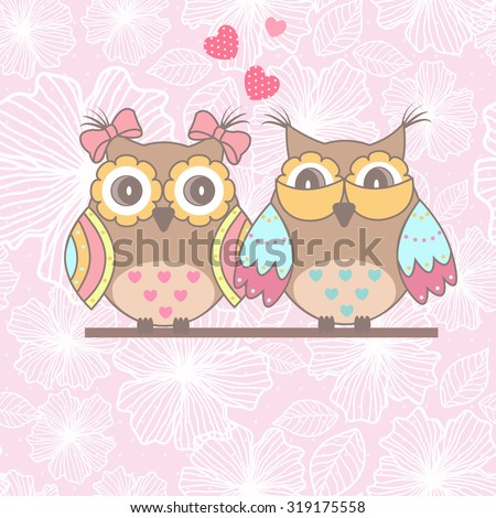 Beautiful card with owls in love on branch on a pink lace background - stock vector
