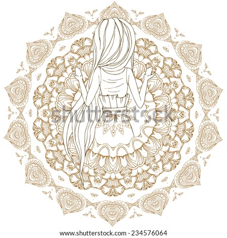 Beautiful card with Praying girl. Frame of mandala made in vector. Perfect cards, for any other kind of design, birthday and other holiday. Lotus, kaleidoscope,  india, pattern. Bright illustration. - stock vector