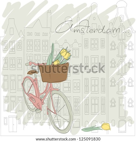 Beautiful card with pretty bicycle and yellow tulip on Amsterdam background - stock vector