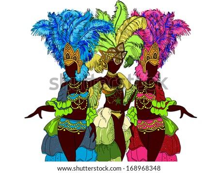 Beautiful carnival dancer. Vector illustration - stock vector