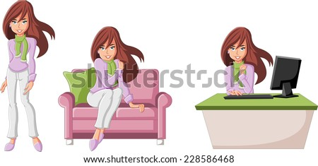 Beautiful cartoon business woman with computer - stock vector