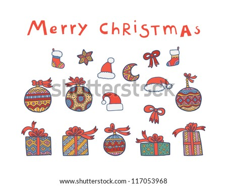 Beautiful cartoon christmas set of different design elements - stock vector