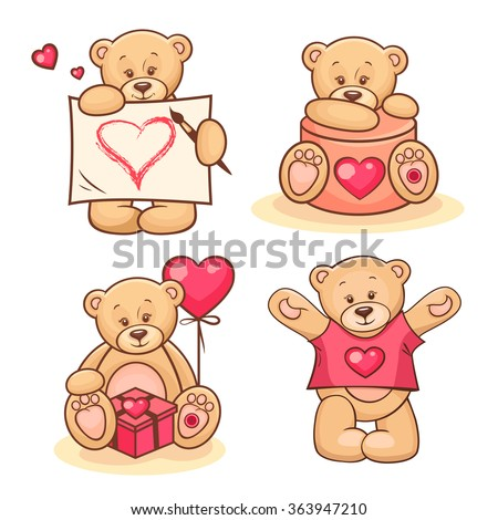 Beautiful cartoon collection of cute valentine Teddy Bears. - stock vector