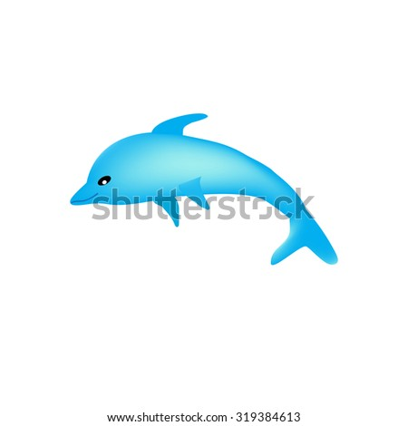 Beautiful cartoon dolphin on a white background isolated.