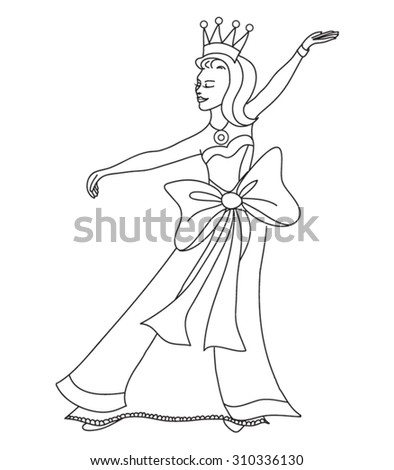 beautiful cartoon princess coloring page for kids