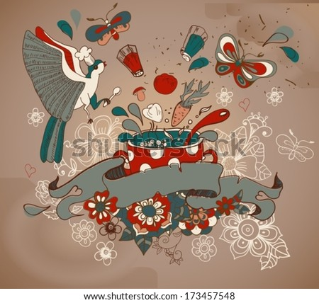Beautiful cartoon with vegetables, pan, bird and flowers old style, Vector - stock vector