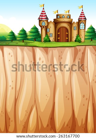 Beautiful castle on the cliff - stock vector