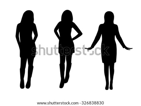 Beautiful casual woman silhouette in dress - stock vector