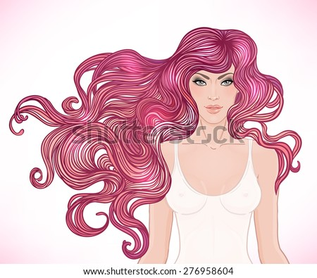 Beautiful Caucasian girl with long curly hair. Vector illustration. Spa, hair salon, beauty or fashion consent. - stock vector