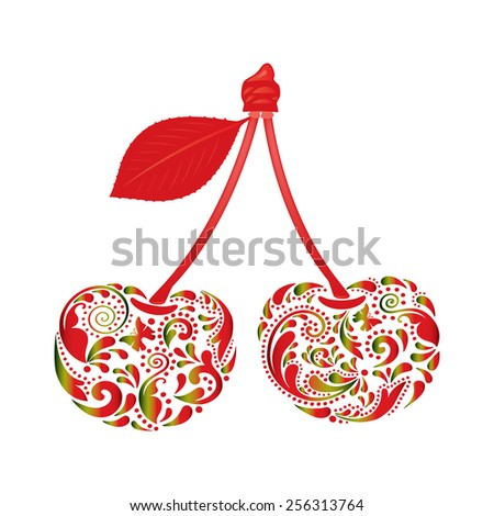 Beautiful cherry, made of the leaf pattern.  - stock vector