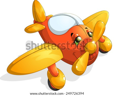 beautiful children's aircraft are painted on a white background - stock vector