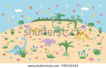 Beautiful Childrens Room Wall Design Kids Stock Vector HD (Royalty ...