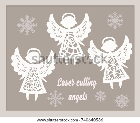Beautiful Christmas Angels Paper Laser Cutting Stock Vector ...