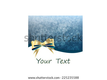 Beautiful Christmas background with golden bowknot - stock vector