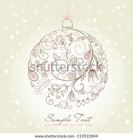 Beautiful Christmas ball illustration. Christmas Card - stock vector