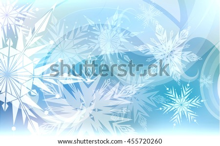 Beautiful Christmas blue background with light snowflakes