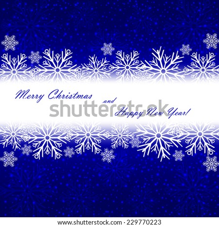 Beautiful Christmas blue background with sparkles and snowflakes. Vector  illustration