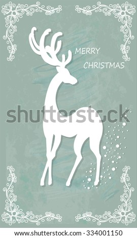 Beautiful Christmas card with reindeer . Vector, EPS10.