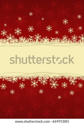 Beautiful Christmas card with snowflakes, golden decorations and space for text