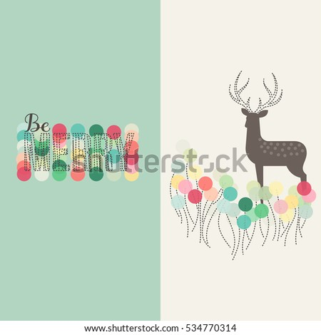 Beautiful Christmas card with spotted fallow deer and winter abstract decoration