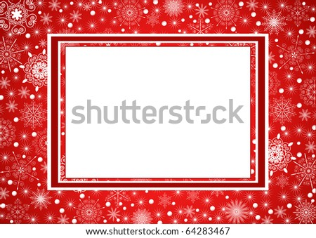 Beautiful Christmas frame with snowflakes on background - stock vector