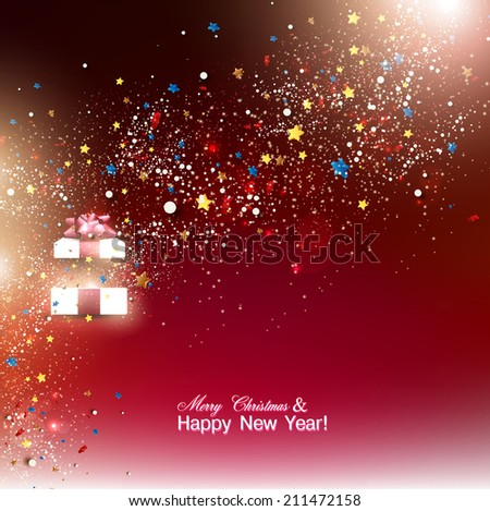 Beautiful Christmas gift with red bow and place for text. Vector - stock vector