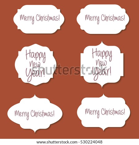 Beautiful Christmas Labels vector set on the red background