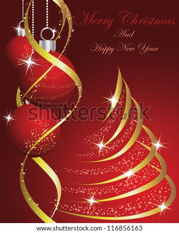Beautiful Christmas (New Year) card. Vector illustration