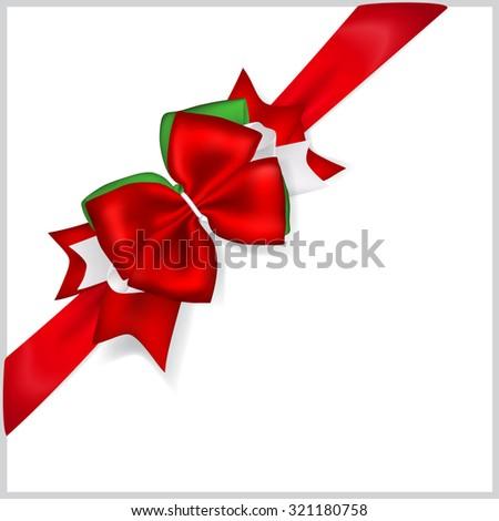 Beautiful Christmas red bow with diagonally ribbon - stock vector