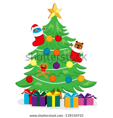 Beautiful Christmas tree with cute decoration and present boxes - stock vector