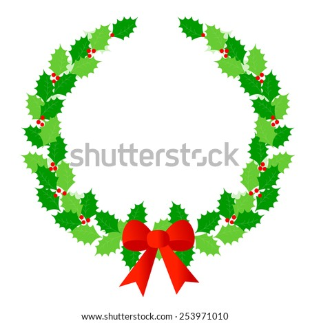 Beautiful Christmas wreath / laurel border with colorful holly, berries and red ribbon bow on white background - stock vector
