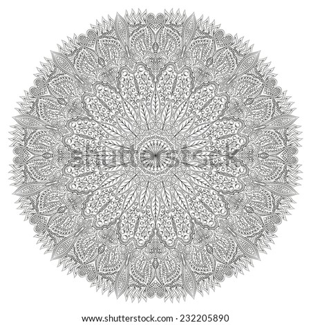 Beautiful circular pattern with fine detail, leaves and berries in black and white. - stock vector