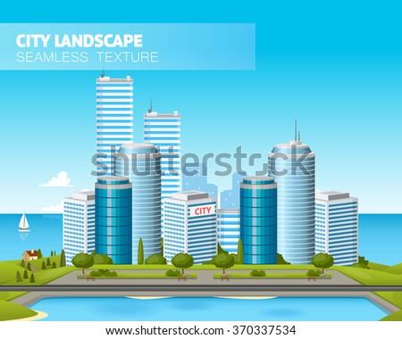 Beautiful city landscape. Vector illustration - stock vector