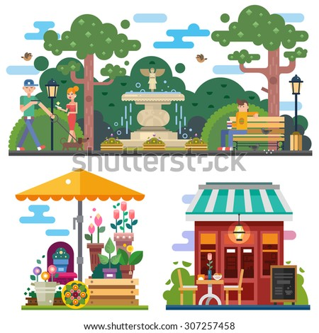 Beautiful city space in summer time: flower shop, cafe outdoor. Walking the dog in the city park, rest on the bench. People characters. Vector flat illustration - stock vector