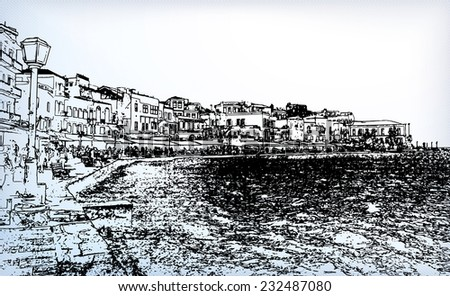 Beautiful cityscape and bay in city of Chania on island of Crete, Greece - stock vector