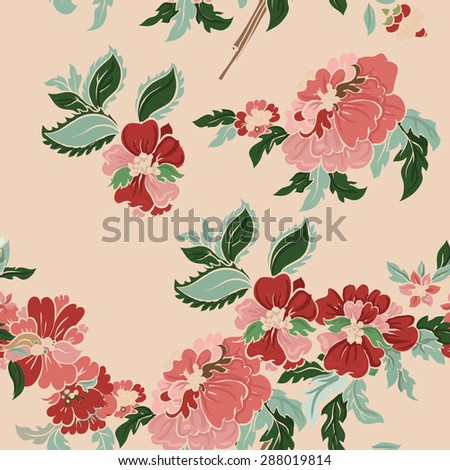 Beautiful  classic floral seamless pattern. Vector background.  - stock vector