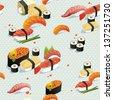 Beautiful Classic Japanese Seamless Pattern, food vector illustration sushi texture - stock vector