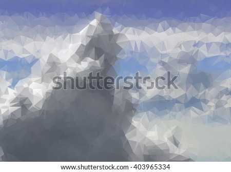 Beautiful clouds design in triangle style - view from airplane - stock vector