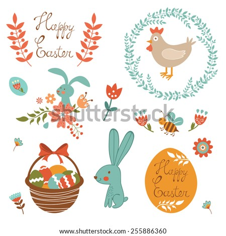 Beautiful collection of Easter related graphic elements. Vector illustration - stock vector