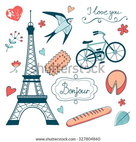 Beautiful collection of paris related graphic elements. Illustration in vector format - stock vector