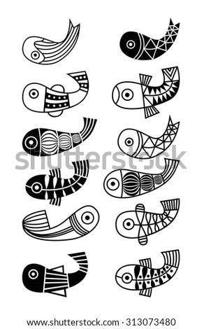 Beautiful collection of tropical fish isolated on white background