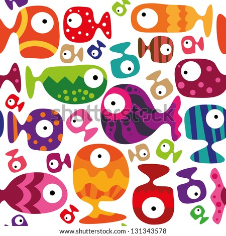 Beautiful collection of tropical fish isolated on white background, Seamless pattern - stock vector