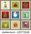 Beautiful Collections of Christmas Postmarks. - stock vector