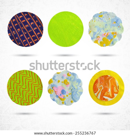 Beautiful color design elements. Various decorative circles made of paper, paint and scissors. Vector illustration.