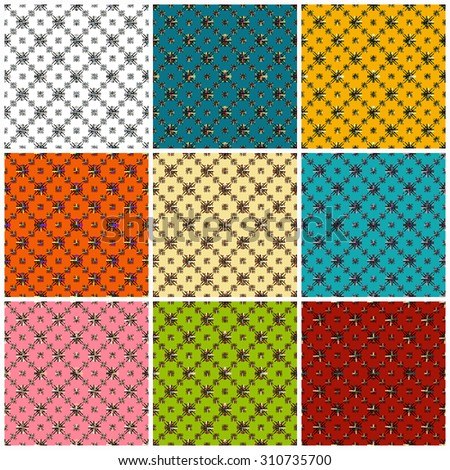 beautiful colored seamless pattern collection of vector illustration