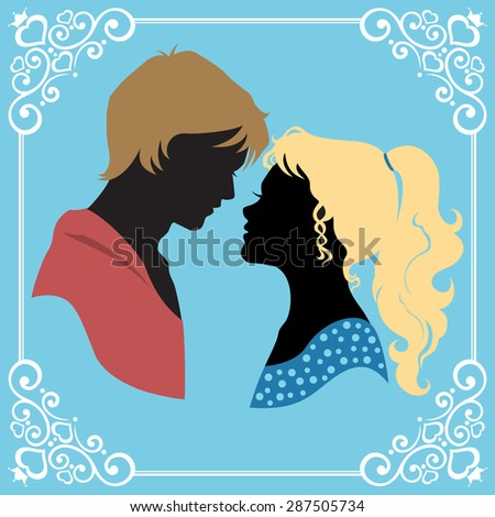 Beautiful colored silhouette of a loving couple with romantic framed. Vector illustration - stock vector