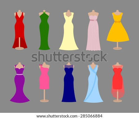Beautiful colorful adult female dress collection. Set of different style elegant women evening dresses and summer sundresses. Silhouette design, vector art image illustration, isolated on background - stock vector