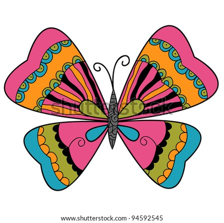 beautiful colorful butterfly design - stock vector