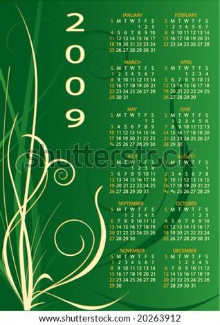 Beautiful colorful calendar with a pattern on green background