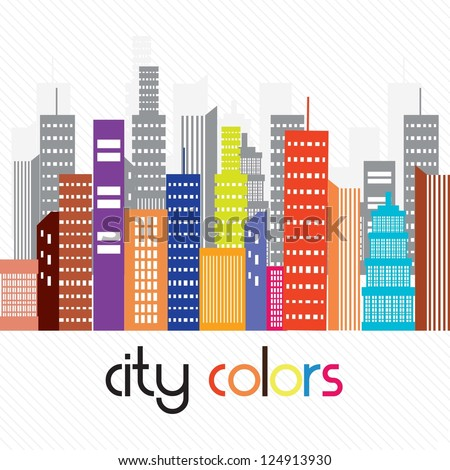 Beautiful colorful city, On white background. Vector illustration - stock vector